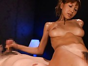 Miku Kohinata Asian with oiled body strokes dick while is licked