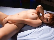 Kokomi Naruse Asian with big tits gets middle finger in her twat