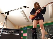 Kokomi Naruse Asian pees under short skirt while playing guitar
