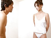 Runa Nanase Asian has hot behind in white thong caressed by hunk