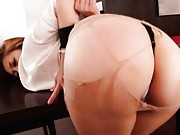 Asami Ogawa Asian has broken stockings and asshole spread bu dude