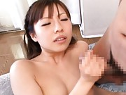 Sachie Hanamura is nailed with dildo in cunt and strokes boner