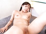 Sachie Hanamura with nasty jugs lays all nude in slit fisting