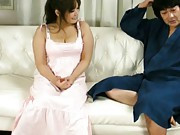 Hinata Komine Asian has huge boobs taken out of dress and touched
