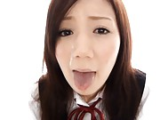 Nozomi Shirayuri has sperm on tongue and pouring of her face
