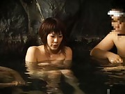 Japanese AV Model gives blowjob and shows boobs in public bath