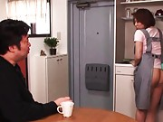 Reiko Yamaguchi with ass out of apron turns fellow on cooking