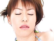 Ai Himeno Asian with nude jugs pleasures her pussy with vibrator