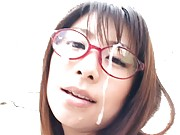 Mimi Kousaka Asian gets river of sperm on specs after sucking