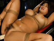 Miu Nishiki Asian with huge tits in ropes gets syringe in asshole