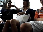 Haruka Hirai Asian has twat rubbed in thong by dudes on the bus