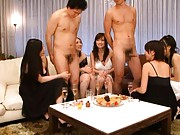 Japanese AV Model and chicks suck dicks in black and white orgy