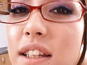 Maria Ozawa Asian with specs has nipples of big boobs squeezed