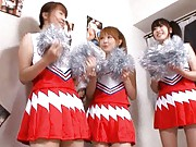 Yuu Konishi Asian and two cheerleaders show juicy bazoom bas