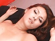 Maria Ozawa Asian with tattoo gets cum on mouth from licking dick