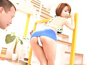 Yui Misaki Asian in blue skirt has a table full of sex toys