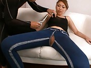 Ria Mamu Asian has tight jeans and top cut on tits and slit areas