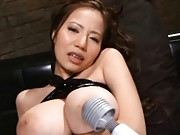 Ruri Saijo Asian with huge knockers has cunt fingered like crazy