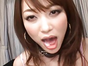 Akari Hoshino Asian with cum from cock in mouth licks a dildo