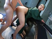 Ai Sayama Asian busty doctor is doggy fucked in operating room