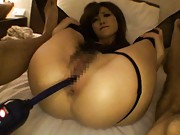 Rina Kato Asian in stockings has pussy fucked with stick deeply
