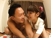 Rei Mizuna Asian in short pants and shirt plays game with fellow