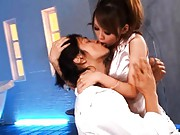 Eri Ouka Asian busty kisses fellow and licks his chest for fuck