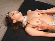 Maria Ozawa Asian in silver outfit has lots of cum on her face