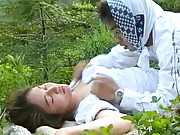 Reiko Akiyama Asian has hairy vagina licked and fucked on grass