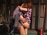 Reon Otowa Asian with boots and long socks rides stiffy on top