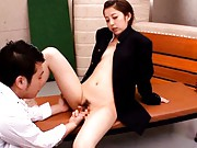 Kanon Imai Asian in male coat has beaver fingered and licked