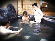 Japanese AV Model takes dress off and enters in bath with hunks