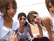 Japanese AV Model and three chicks have their hooters fondled
