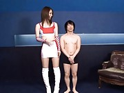 Riko Miyase Asian in long boots has boobs licked by smaller dude
