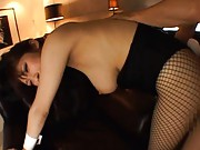 Harumi Asano Asian topless is doggy fucked through stockings