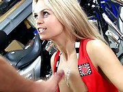 Sex action with Sabrina Blond in the garage
