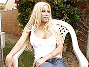 """Gina Lynn Interviewed by Director of her latest DVD in the yard of the shoot house"""