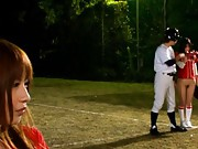 Japanese AV Model and girls are playing baseball in nude asses
