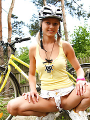 18yo teen Pinky June strips down while riding bike