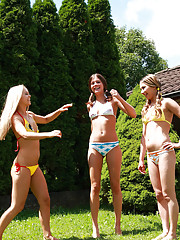 Sabrina Blond playing with 2 teen girls outdoors