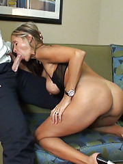 HotWifeRio sucks on a big dick while wearing her favorite black pantyhose