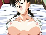 Nerdy big titty anime schoolgirl fucks wearing her glasses