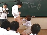 Rio Hamasaki plays with a student´s cock in class