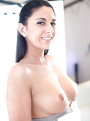 gorgeous babe with tight body gets shaved pussy fucked hard
