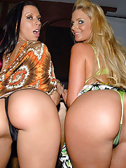 Hot mini skirt club babes strip masturbate and get fucked in this hot group sex pic set