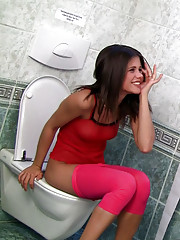 Teen Caprice pissing & fucking in toilet