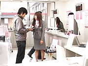 Japanese AV Models being checked out by male visitor