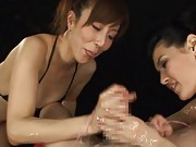 Maria Ozawa Asian and whore stroking cock on which cum is poured