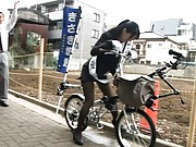 Yua Kisaki Asian has the bike fake cock seat stuck in her pussy
