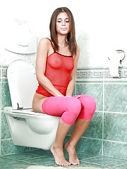 Caprice pissing in toilet & fucking guy